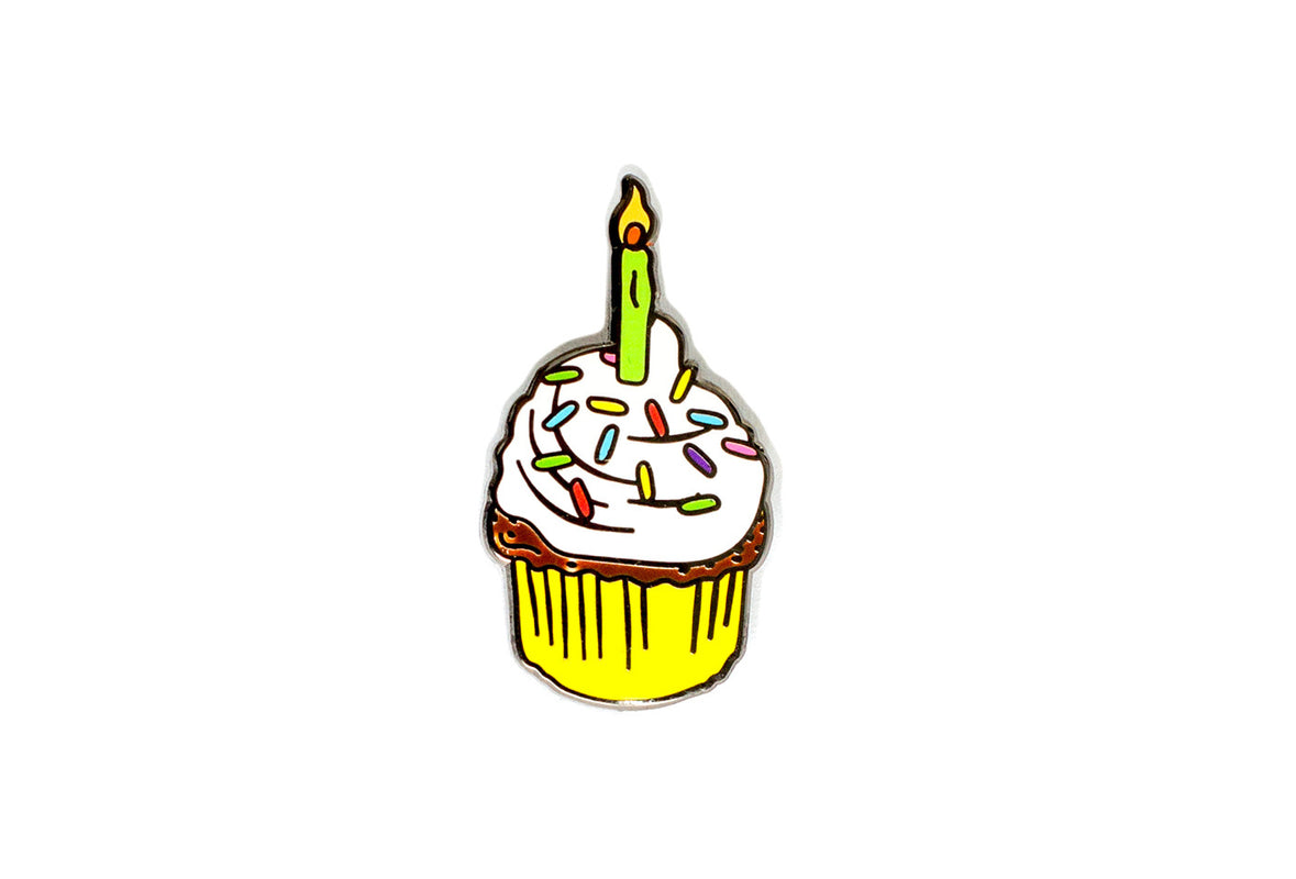 Birthday Cupcake - White & Yellow