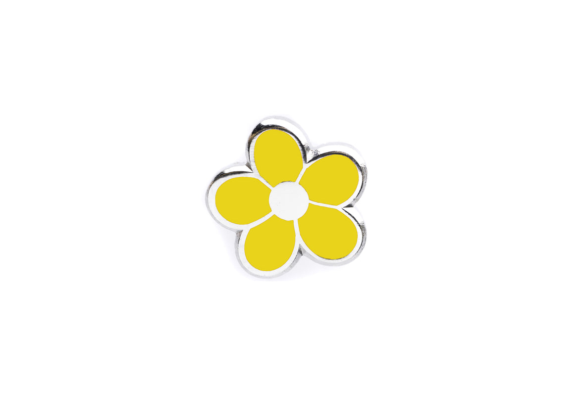 Mini Flower Pin - Yellow and Silver
