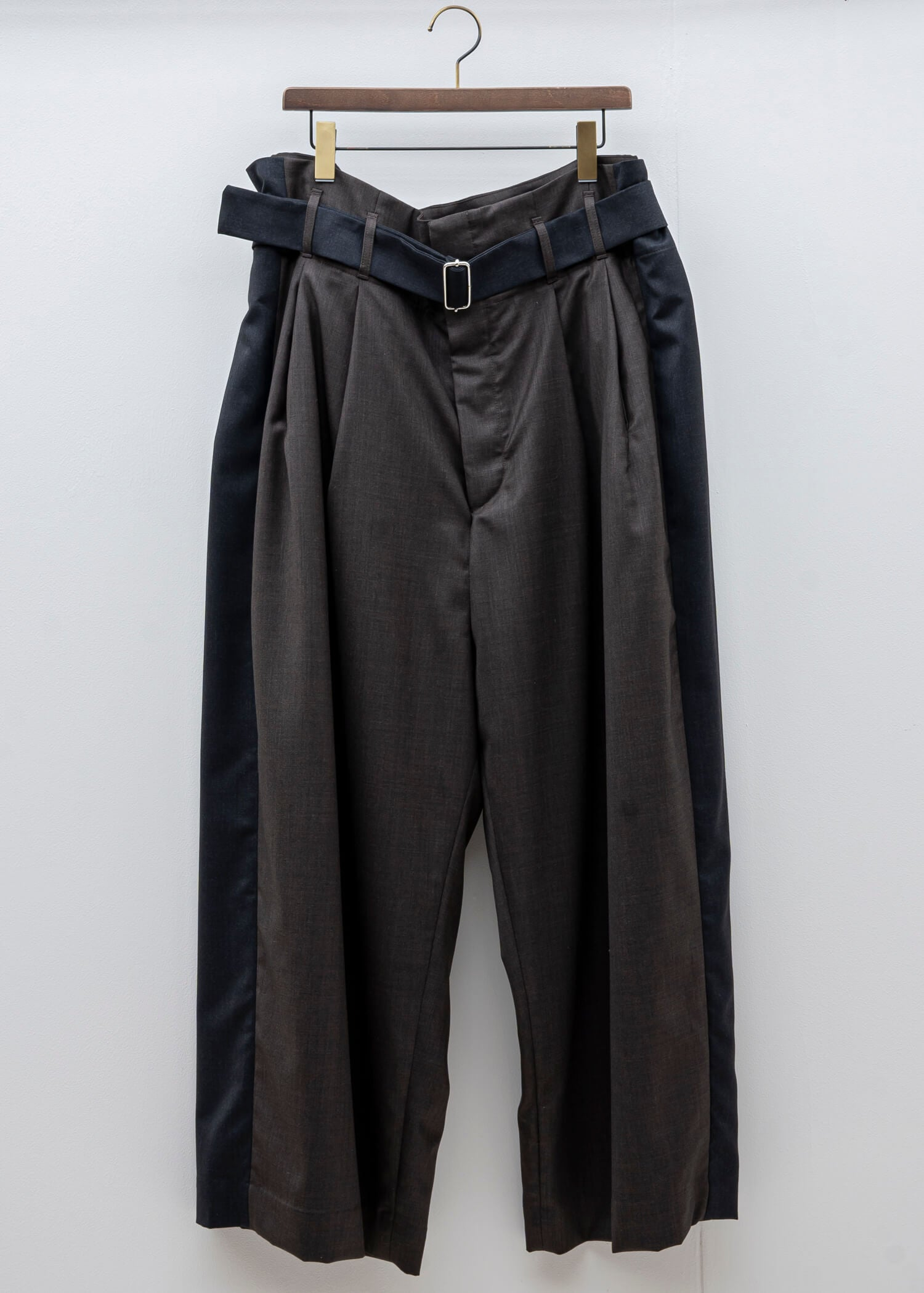HED MAYNER / WIDE PLEATED PANT / GREY & BROWN COOL WOOL
