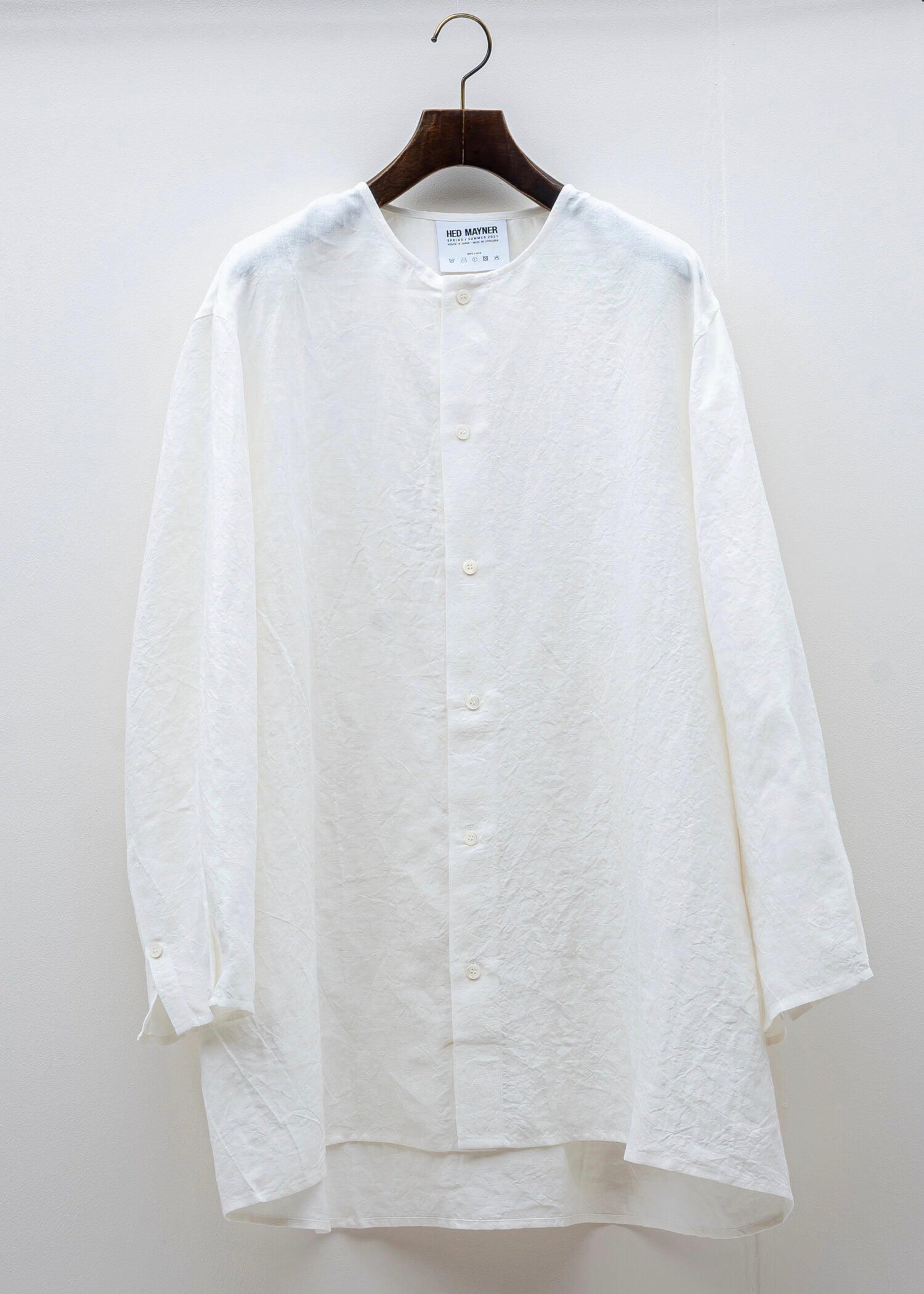 HED MAYNER / COLLARLESS BUTTON SHIRT / WHITE LINEN