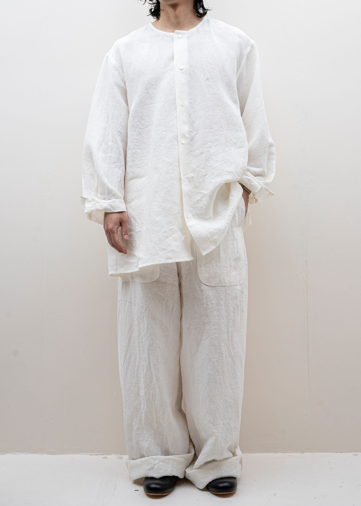 HED MAYNER / BELTED PANT / WHITE LINEN