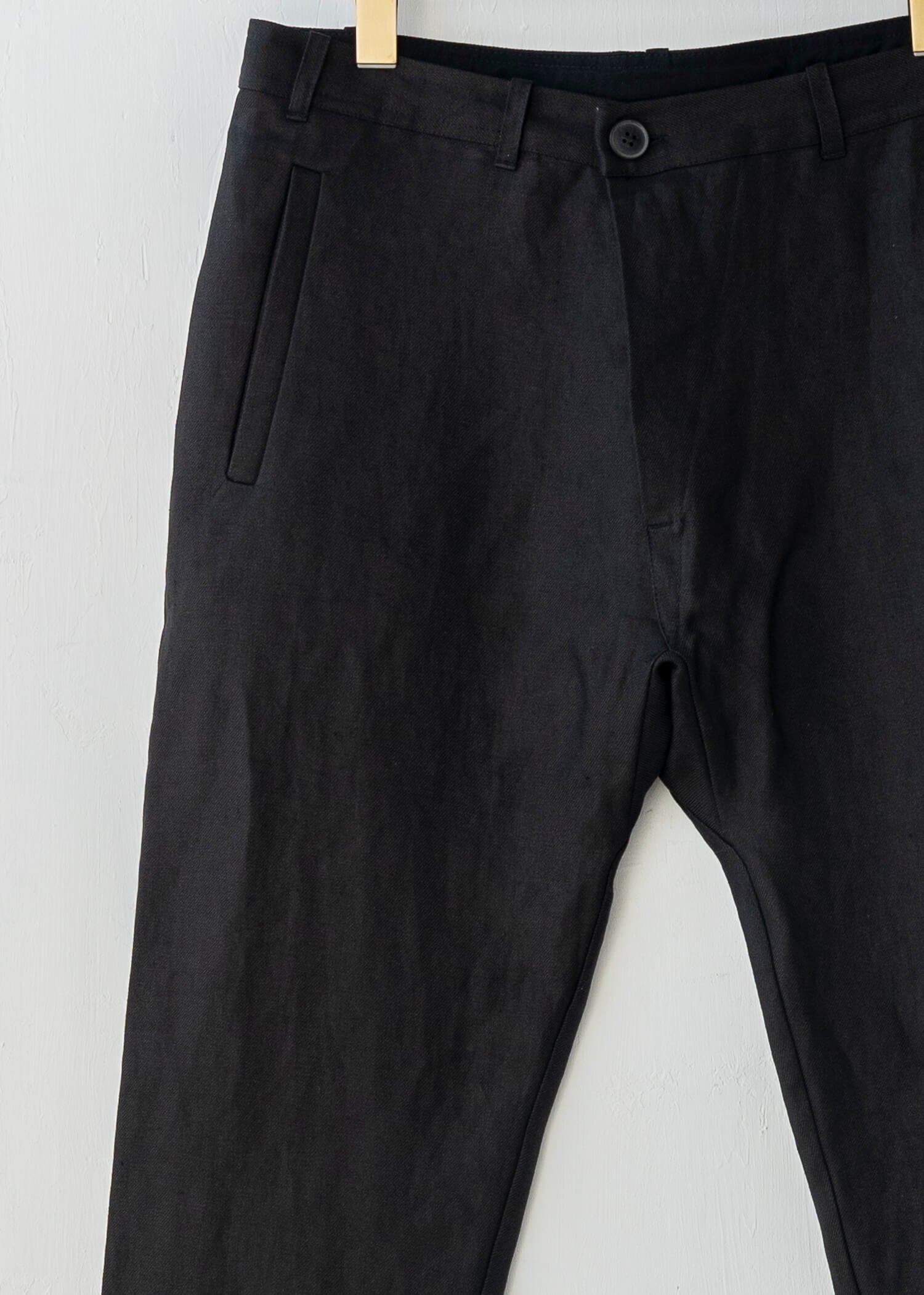 "JAN-JAN VAN ESSCHE / ""TROUSERS#49"" REGULAR FIT TROUSERS / BLACK / HEMP TWILL"