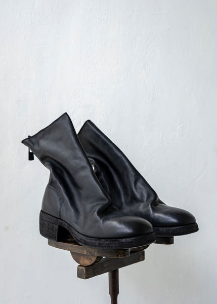 "GUIDI / ""788Z"" BACK ZIP MID BOOT / SOFT HORSE W SOLE / BLKT"