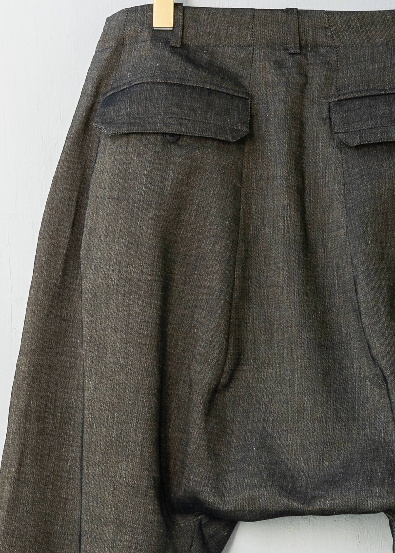 "JAN-JAN VAN ESSCHE / ""TROUSERS#59"" GOLD WOOL/ LINEN TWILL"