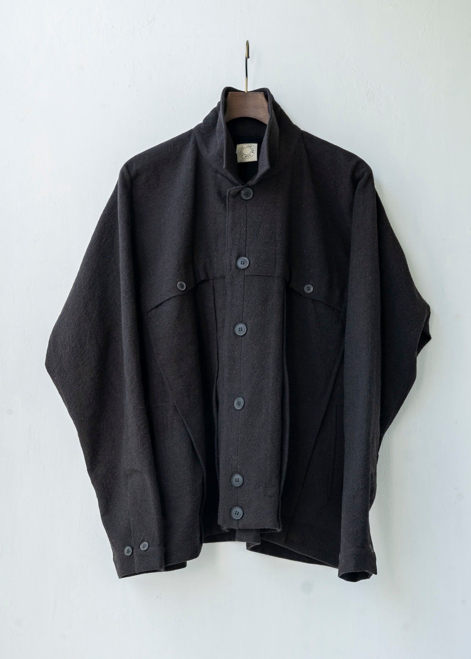"JAN-JAN VAN ESSCHE / ""JACKET#40"" CHOCOLATE BOILED COTTON/ WOOL"