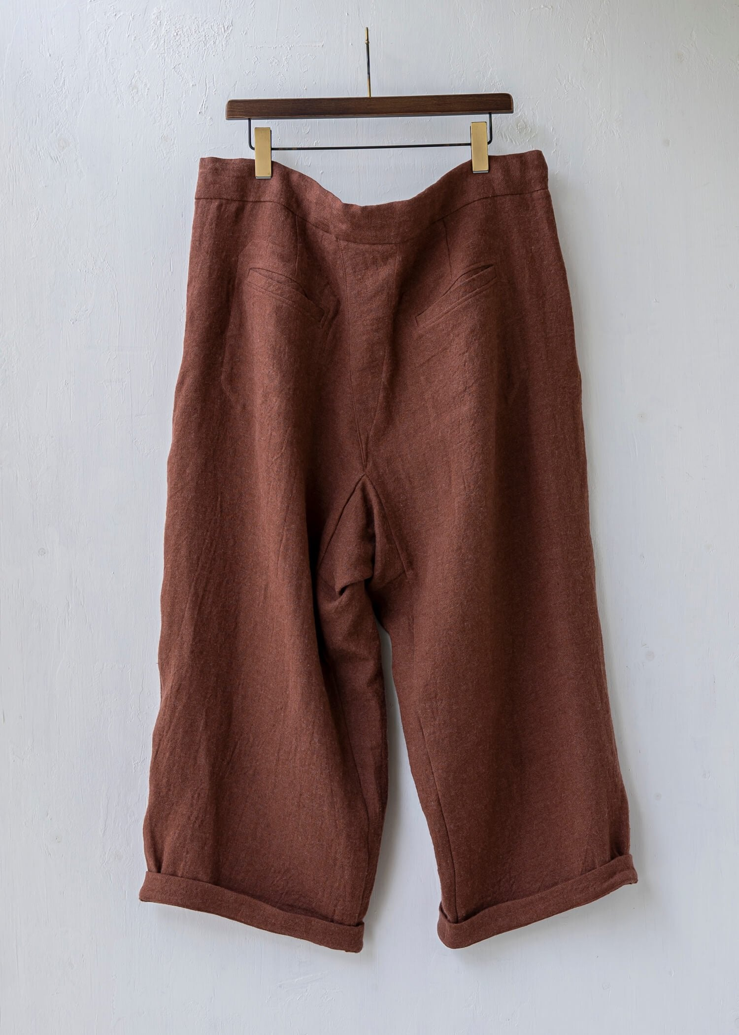 "ZIIIN / ""DARMA"" 3 Tuck Wide Pants / Hemp Wool  / RENGA"