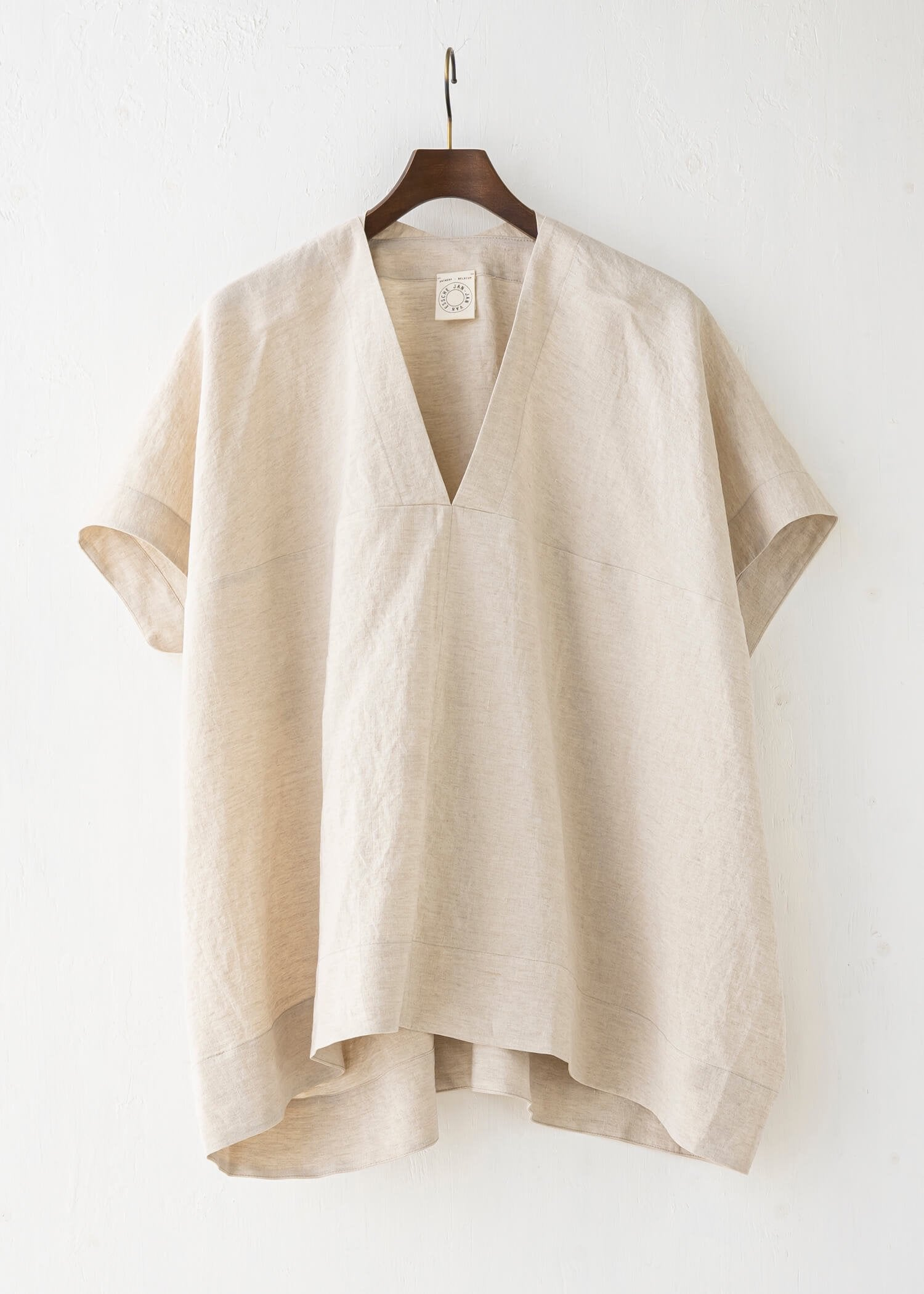 "JAN-JAN VAN ESSCHE / ""TUNIC#27"" NATURAL MELE LINEN/SILK SHIRTING"