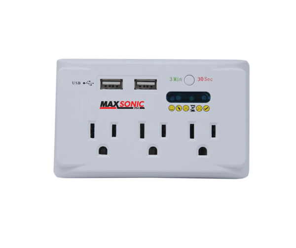 Three Plug Surge Protector with USB