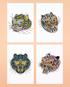 Ali Walters - Tiger Kitty Postcards 4-pack