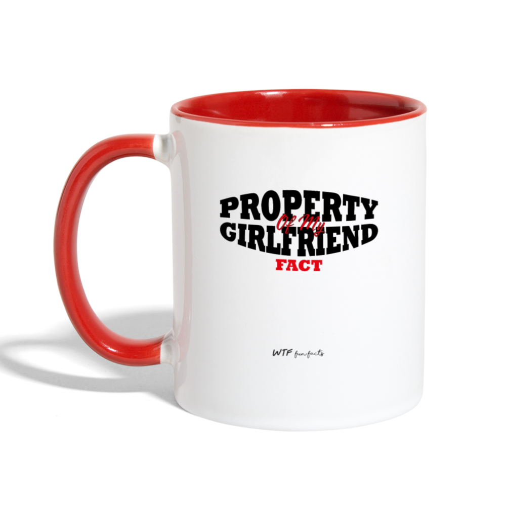 Property Of My Girlfriend - Two Tone Mug - white/red