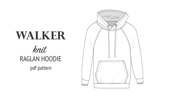 Sewing pattern pdf S9003 Walker knit raglan hoodie for men by Sinclair Patterns