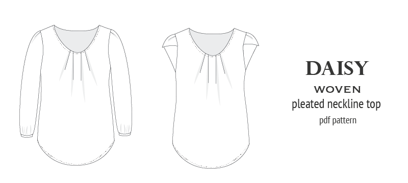Pdf sewing pattern Daisy woven blouse top with pleated neckline and petal sleeves Sinclair Patterns