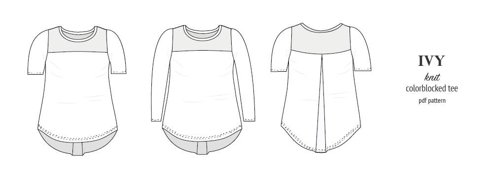Pdf sewing pattern - Sinclair Patterns - S1037 Ivy knit tee with yoke for women