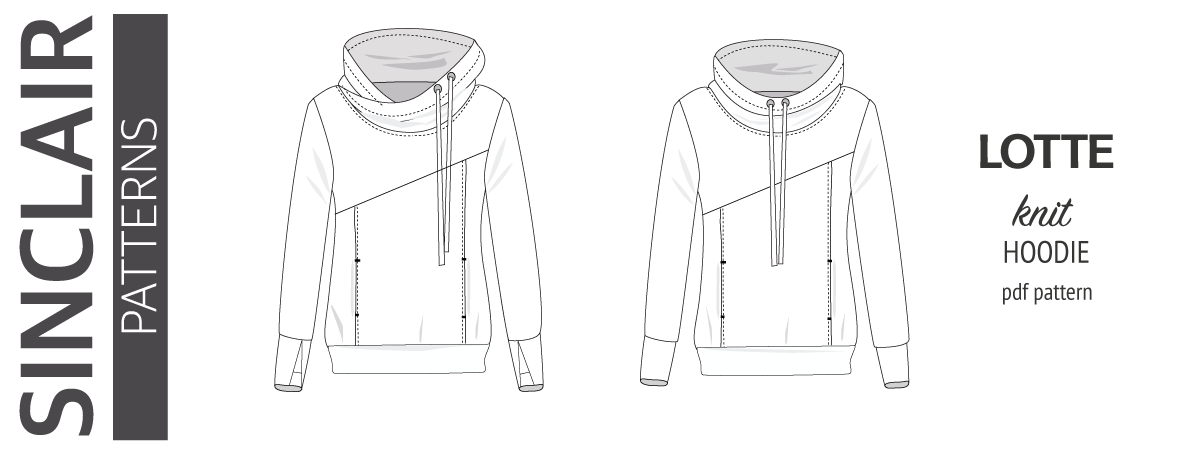 Pdf sewing pattern Hoodie with thumbhole cuffs and cowl for women