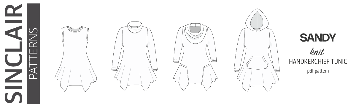 Sandy knit tunic with handkerchief hem, pockets, cowl, collar and hood