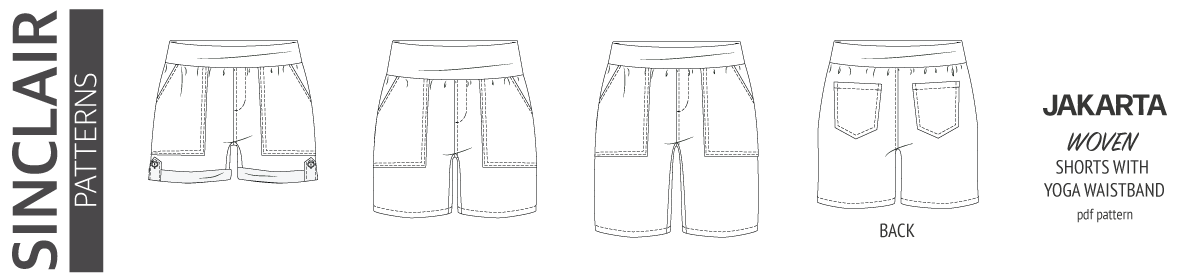 Pdf sewing pattern S1075 Jakarta woven shorts with pockets and yoga waistband by Sinclair Patterns