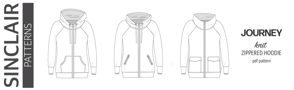 Sinclair Patterns S1080 Journey zip up zippered knit raglan hoodie for women with kangaroo, zippered or cargo pockets pdf sewing pattern