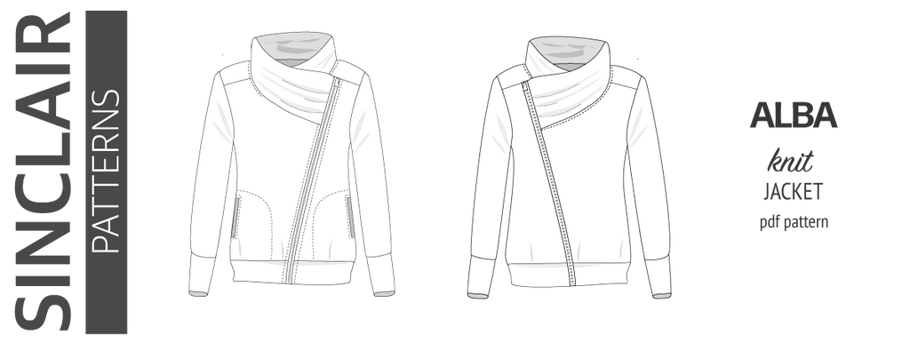 Sinclair Patterns S1082 Alba asymmetrical zip up zipper hoodie jacket for women with pockets pdf sewing pattern