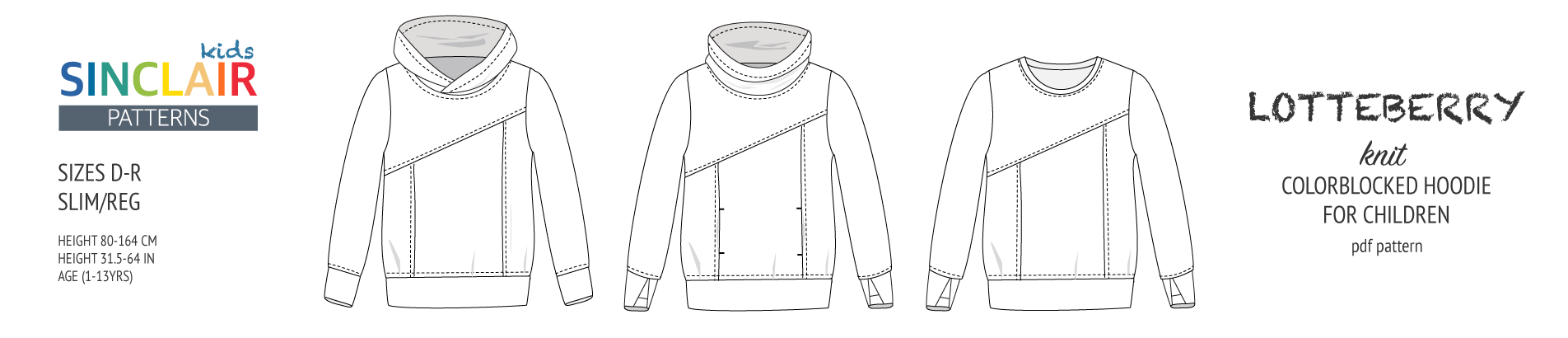 Lotte Lotteberry colorblocked hoodie for children (pdf sewing pattern)