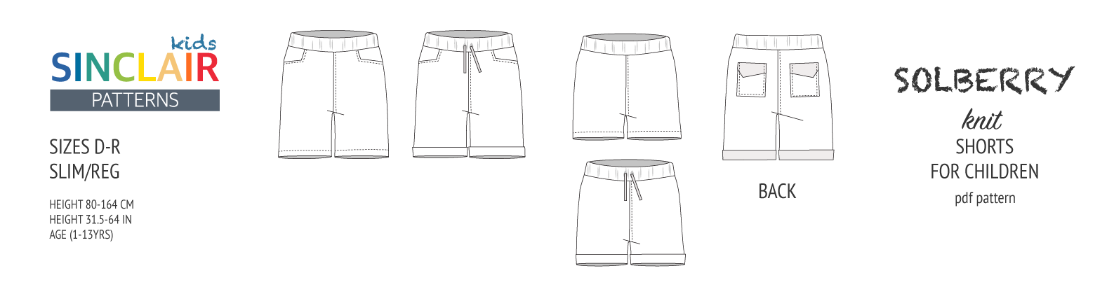 Solberry knit jersey shorts for children pdf sewing pattern