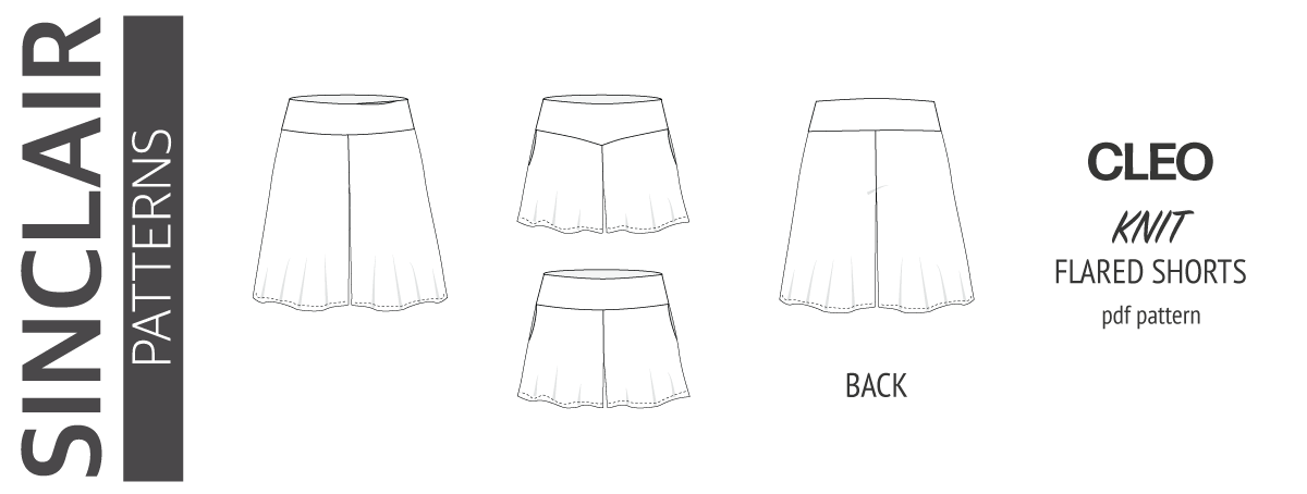 Cleo knit shorts and culottes with yoga and V waistband and pockets pdf sewing pattern