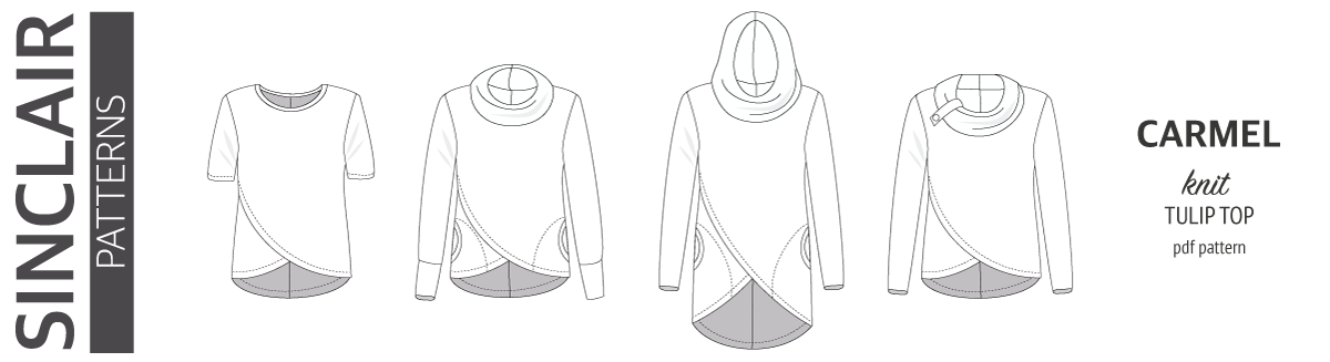Carmel knit tulip style top with a cowl or a hood and pockets pdf sewing pattern