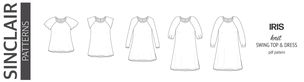 Pdf sewing pattern raglan swing top, tunic and dress for women with flutter sleeves, bishop sleeves, short sleeves and cap sleeves by Sinclair Patterns