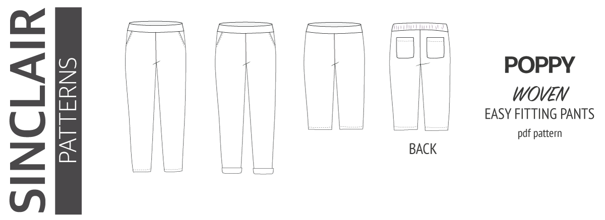 PDF sewing pattern Poppy easy fitting beach woven pants