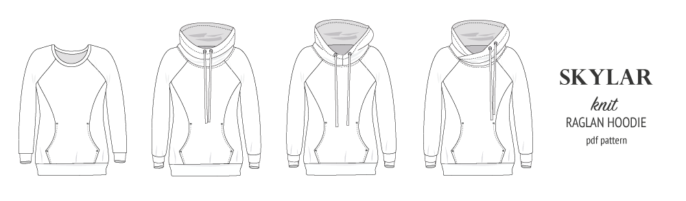 Pdf sewing pattern S1064 Skylar hoodie with pocket hood and cowl by Sinclair Patterns