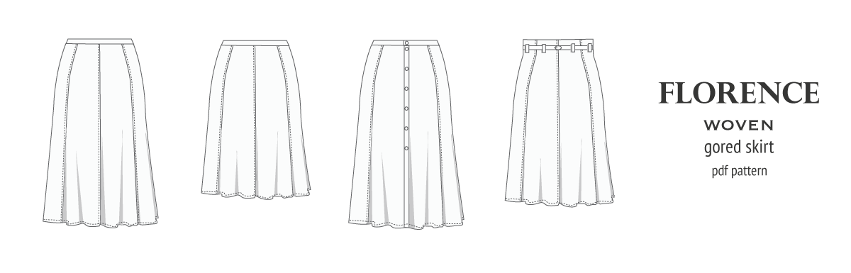 Florence woven gored skirt with buttons/zipper (PDF)