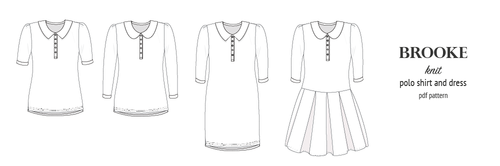 Pdf sewing pattern - Sinclair Patterns - S1066 Brooke knit polo shirt or shirt dress for women
