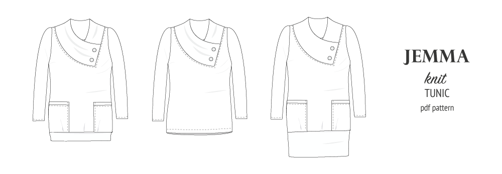 Pdf sewing pattern S1049 Jemma knit tunic with asymmetrical collar and pockets