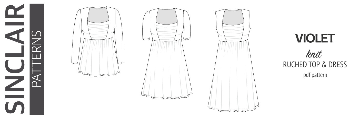 Pdf sewing pattern Violet ruched accent top and dress for knit fabrics