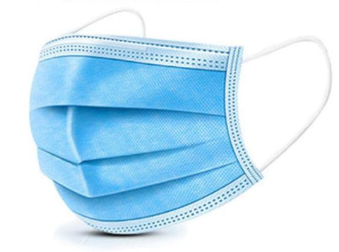 Blue 3-Ply Disposable Protective Masks (Box of 50)