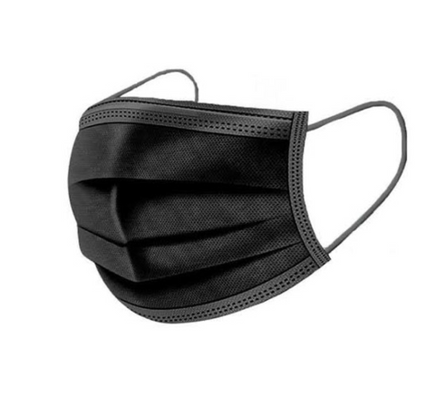 Black 3-Ply Disposable Protective Masks (Box of 50)