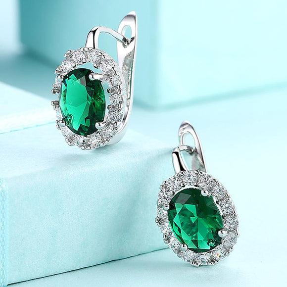 Green Swarovski Elements Leverback Earrings in 18K White Gold
