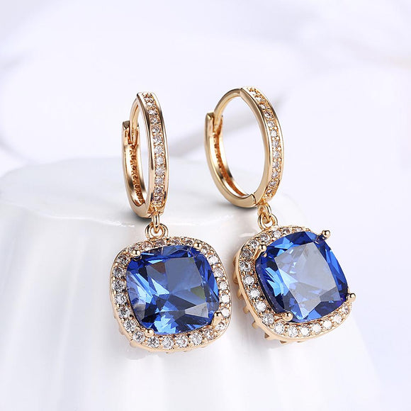 3.00 Ct Sapphire Asscher Cut Halo Drop Earring in 18K Gold Plated