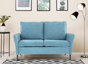 Blue Upholstered Tufted Sofa  & Love-seat
