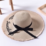 Black Ribbon Lace Up Large Brim Straw Hat