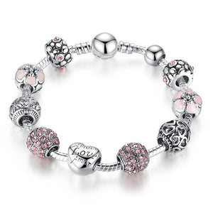 Silver Plated Charm Bracelet with Flower Beads