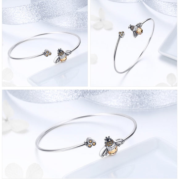 Crystal Bee And Honeycomb Silver Bracelets