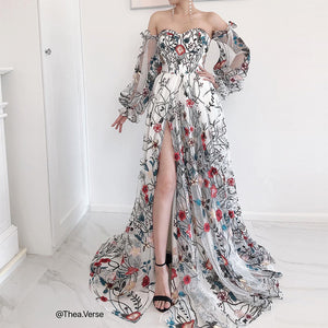 #27495 Floral Embroidered Evening Dress