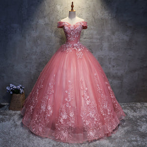 #7151 OFF SHOULDER EMBROIDERY SWING PROM DRESS