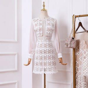 #7158 HOOK FLOWERS HOLLOW LACE DRESS