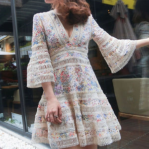 #7161 RETRO FLORAL HOLLOW FLARED SLEEVE EMBROIDERY DRESS