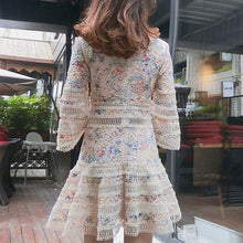 Load image into Gallery viewer, #7161 RETRO FLORAL HOLLOW FLARED SLEEVE EMBROIDERY DRESS