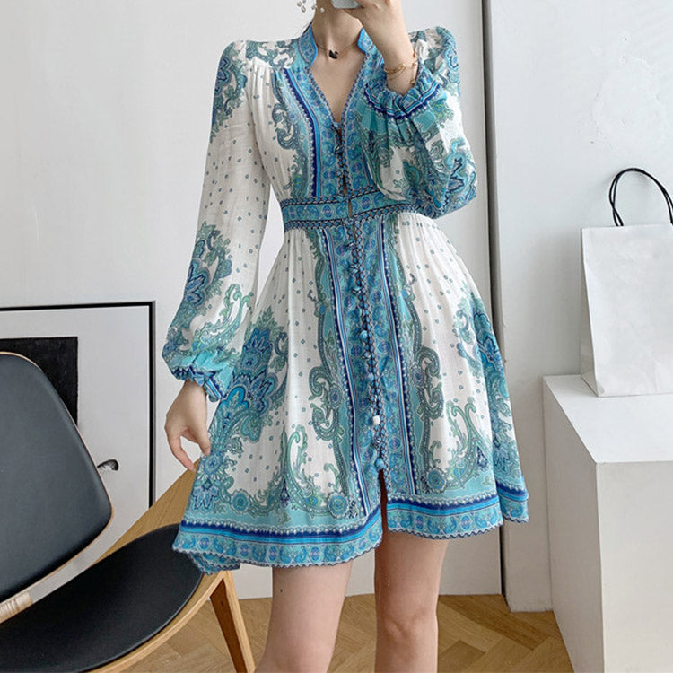 #7163 ETHNIC STYLE COTTON AND LINEN RETRO FLORAL PUFF SLEEVE DRESS