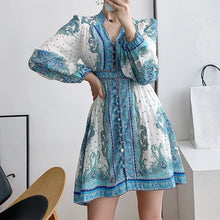 Load image into Gallery viewer, #7163 ETHNIC STYLE COTTON AND LINEN RETRO FLORAL PUFF SLEEVE DRESS