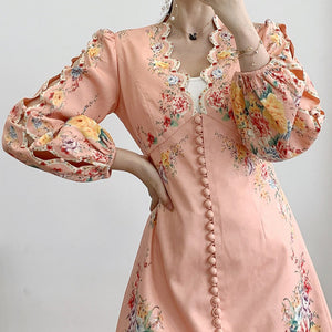 #7164 ETHNIC PRINT V-NECK HOLLOW EMBROIDERY DRESS