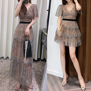 #7165 BEAD EMBROIDERY DRESS